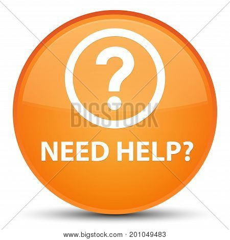Need Help (question Icon) Special Orange Round Button