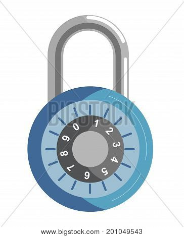Metal lock with round corpus and numeric code with mechanic system inside isolated cartoon flat vector illustration on white background. Compact security device to keep things in secret place.