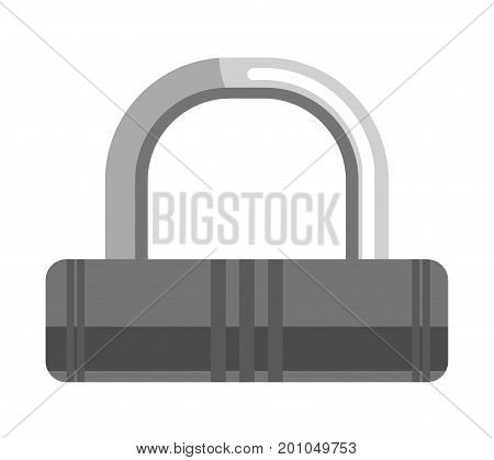 Simple lock with metal loop and oblonged black corpus isolated cartoon flat vector illustration on white background. Compact device that used for doors to protect premises from undesirable access.