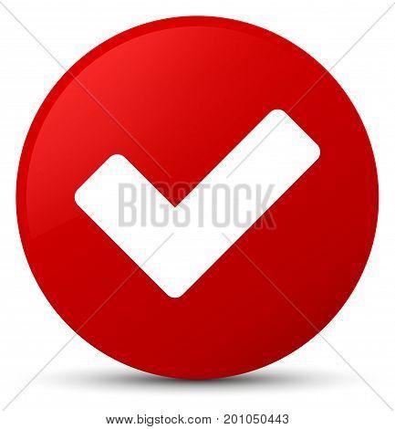 Validate Icon Red Round Button