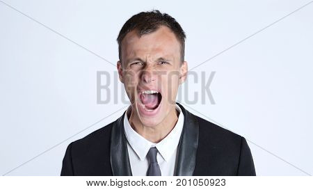 Businessman in anger screaming, Isolated on White background
