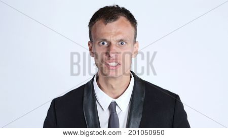 portrait of businessman in anger screaming, Isolated on White background