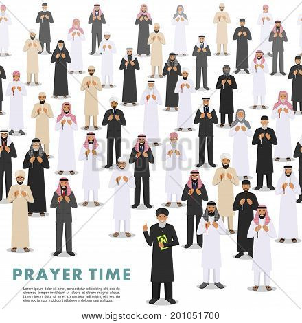 Vector seamless pattern group of islamic people standing with beads in hands and pray. Mufti with quran. Muslim concept. Vector illustration.