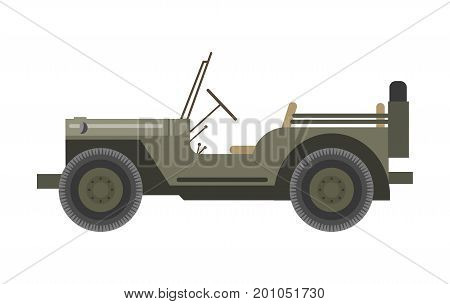 Military vehicle in bulletproof dark green corpus without roof and with spare tire behind isolated cartoon flat vector illustration on white background. Armored heavy transport used in army industry.
