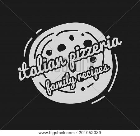 Pizza Label Design Typographic. Pizza festival or pizzafest. Vintage food pizza logo template for restaurant. Vector Illustration.
