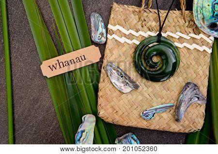 New Zealand - Maori Themed Objects - Greenstone Jade Pendant On Woven Kite Flax Bag With Whanua Labe