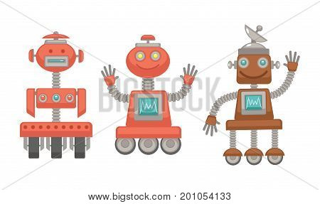 Mechanical robots made of metal on wheels with funny faces, screens with wave line, powerful antennas, colorful buttons and human limbs isolated cartoon flat vector illustration on white background.