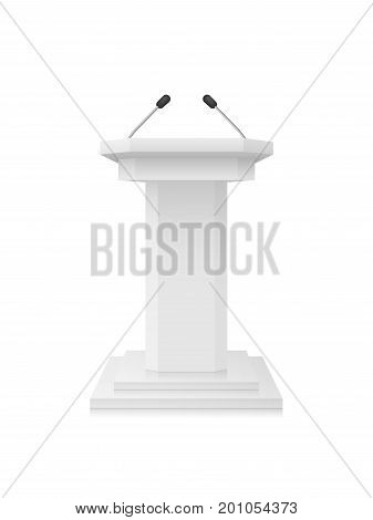 Vector White Podium Tribune Rostrum Stand with Microphones Isolated