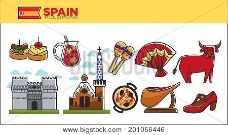 Spain travel destination promotional vector illustration. National food and drinks, authentic architecture, traditional musical instrument, bull with pierced nose and shoe and fan for flamenco.