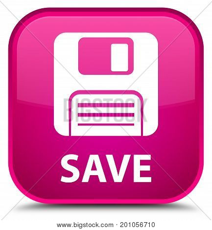Save (floppy Disk Icon) Special Pink Square Button