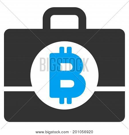 Bitcoin Accounting Case flat vector pictograph for application and web design.