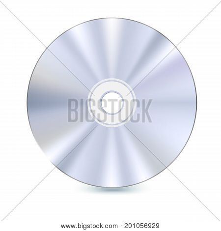 DVD or CD disc. Blue-ray technology vector 3D illustration. Realistic, detailed, round CD Disk isolated on white background. Data technology for music, Information and software.
