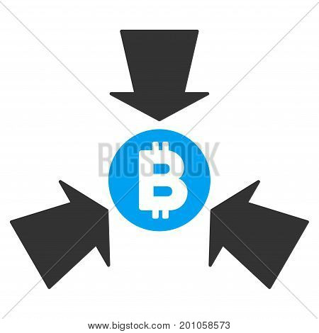 Bitcoin Collect Arrows flat vector icon for application and web design.