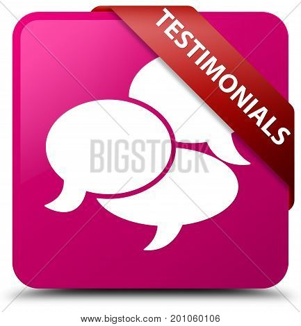 Testimonials (comments Icon) Pink Square Button Red Ribbon In Corner