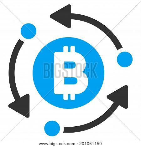 Bitcoin Rotation Arrows flat vector icon for application and web design.