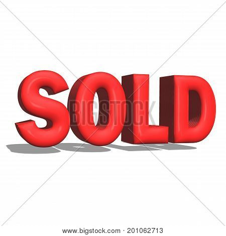 3D sold text on white background. sold text 3d sign.