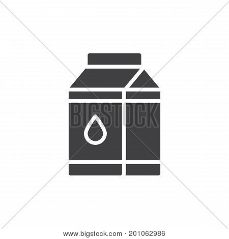 Milk carton box icon vector, filled flat sign, solid pictogram isolated on white. Symbol, logo illustration. Pixel perfect vector graphics