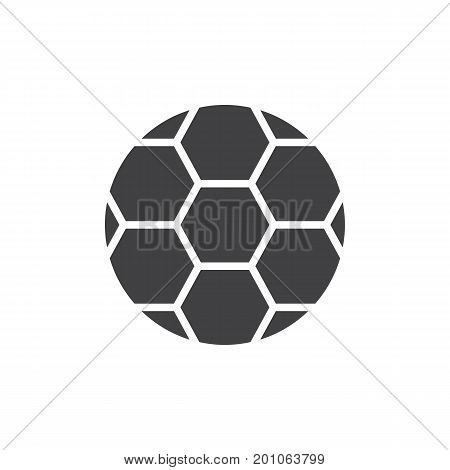 Soccer ball icon vector, filled flat sign, solid pictogram isolated on white. Football symbol, logo illustration. Pixel perfect vector graphics