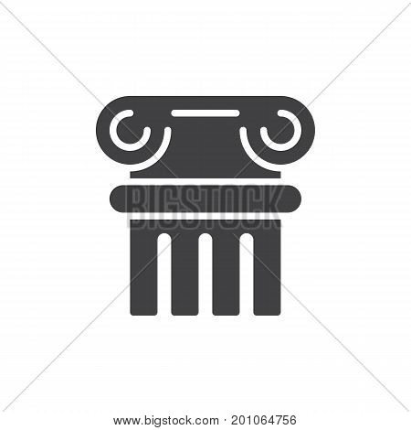 Ancient column icon vector, filled flat sign, solid pictogram isolated on white. History symbol, logo illustration. Pixel perfect vector graphics