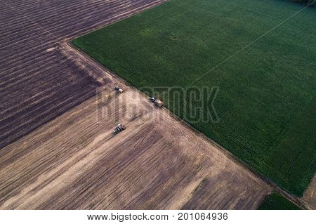 Aerial view of field processed harvester. Landscaping pattern from mown fields and green freshly planted. Agricultural works. Argo industry.