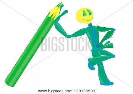 Little  alien and pencil