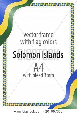 Frame And Border Of Ribbon With The Colors Of The Solomon Islands Flag