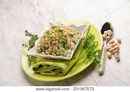 barley risotto with beans broad pistachio and thymus