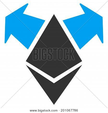 Ethereum Spend Arrows flat vector pictogram for application and web design.