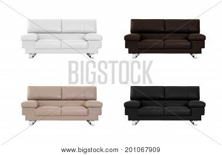Sofa In Various Color On White Background