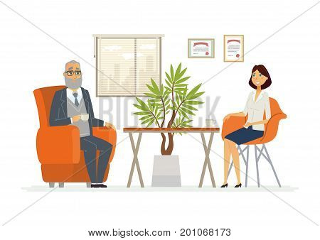 Business Consultation - vector illustration of a business situation. Cartoon people characters of senior male, young female with coffee cups. Scene of company director, manager giving advice in office