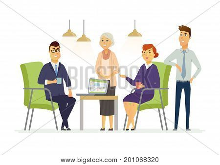 Business Discussion - vector illustration of business situation. Cartoon people characters of female, male colleagues, partners discussing work. Senior, young office workers team in casual atmosphere