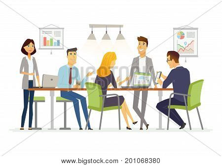 Business Discussion - vector illustration of business situation. Cartoon people characters of female, male colleagues, partners discussing work. Young office workers team in casual friendly atmosphere
