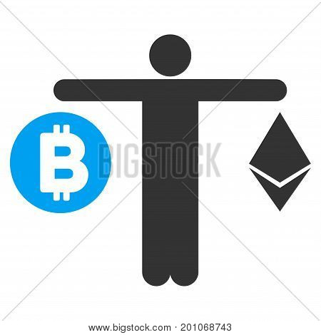 Person Compare Cryptocurrency flat vector icon for application and web design.