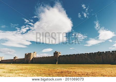 Famous fortification wall surrounding Aigues-Mortes city Camargue France