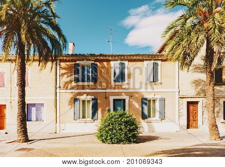 South of France Village of Aigues-Mortes Camargue in Languedoc-Roussillon