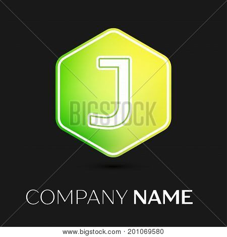 Realistic Letter J vector logo symbol in the colorful hexagonal on black background. Vector template for your design