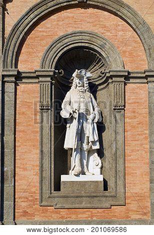Statue Of Carlo Iii In Palazzo Reale Di Napoli. Campania, Italy.