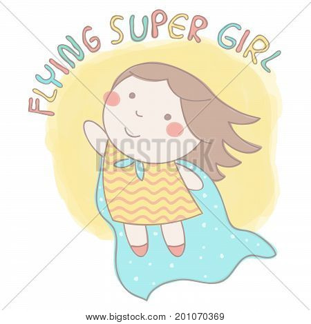 Cute vector illustration with sweet little girl wearing cloak and flying in super hero style