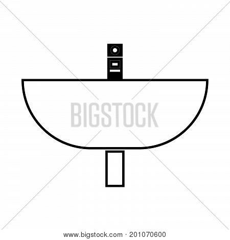 Wash Basin Black Color Icon .