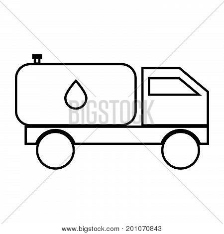 Cistern Truck Black Color Icon .