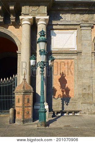 Detail of principal facade of Palazzo Reale di Napoli in Piazza del Plebiscito. Naples. Campania Italy.