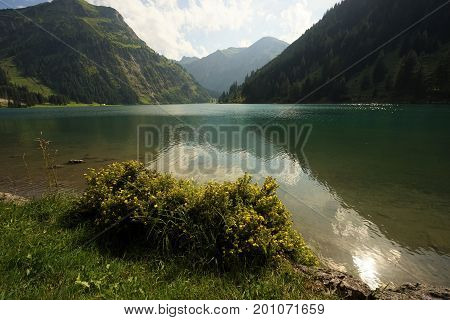 Lake Vilsalpsee in the Tyrolean Alps Tannheim Austria