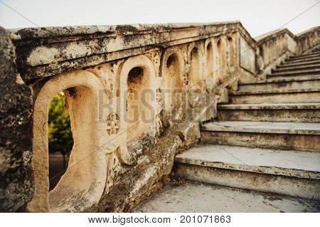 Close up of stone stairs Saint Clement Aqueduct in Montpellier France