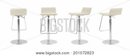 Light Beige Leather Swivel Bar Stool