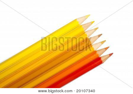 Set Of Colored Pencils, Yellow-orange Palette