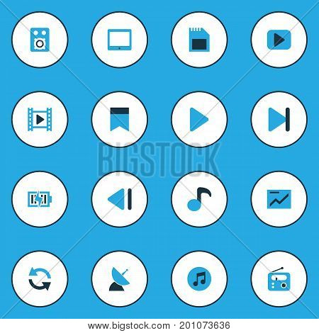 Media Colorful Icons Set. Collection Of Flag, Quaver, Begin And Other Elements