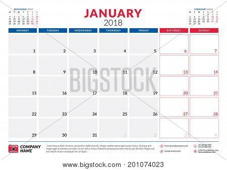 January 2018. Calendar Planner Design Template. Week Starts On Monday. Stationery Design
