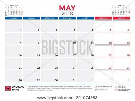 May 2018. Calendar Planner Design Template. Week Starts On Monday. Stationery Design
