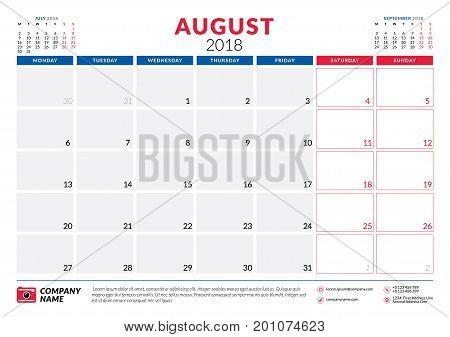 August 2018. Calendar Planner Design Template. Week Starts On Monday. Stationery Design