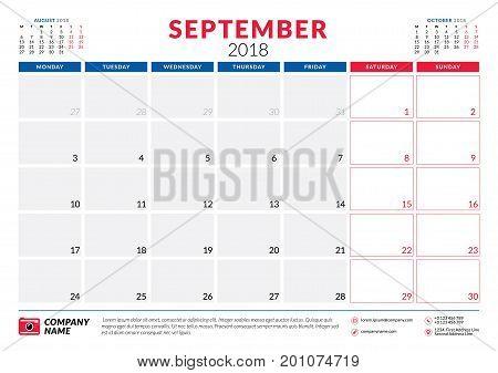 September 2018. Calendar Planner Design Template. Week Starts On Monday. Stationery Design